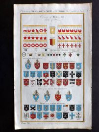 Royal Cyclopaedia C1790 Hand Col Print. Elements of Heraldry. Table of Houses